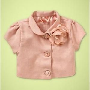 Baby Gap pink shimmering short jacket with flower.